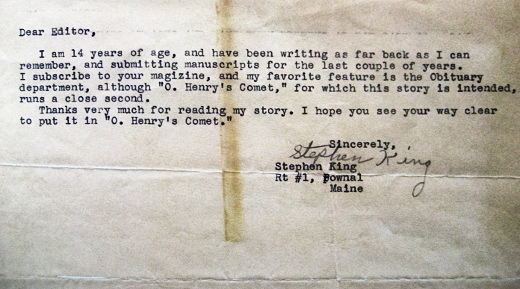stephen king - 14 yrs old - submission letter